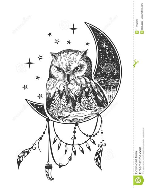 Vector Boho Owl Tattoo Or T-shirt Print Design Stock