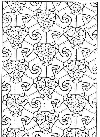 Escher Pavages Coloring Mc Kleurplaat Coloriage Plan