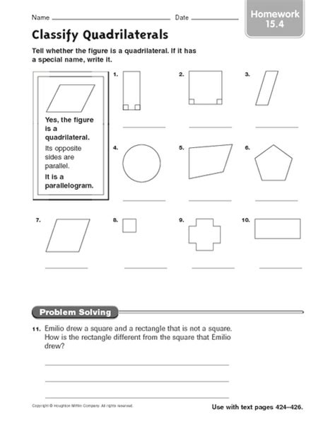 classify quadrilaterals homework 15 4 worksheet for 3rd 4th grade lesson planet