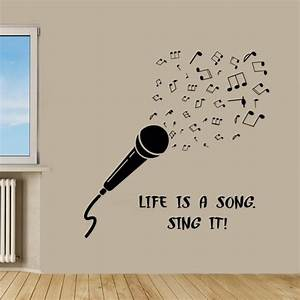 Microphone Wall Decals Music Wall Quotes Life Is A Song ...