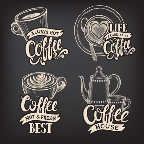 chalkboard logo templates free coffee logos design with chalkboard background vector 04