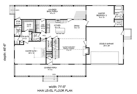 House Plan 51637 Southern Style with 3100 Sq Ft 4 Bed