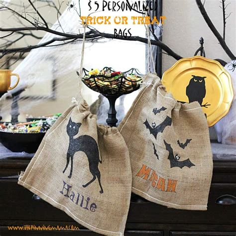 personalized burlap trick  treat bag  pinning mama