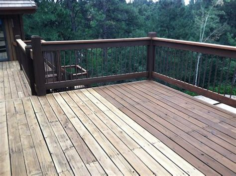 Cabot Deck Stain Drying Time by Cabot Deck Stain In Semi Solid Bark Mulch Half Stained
