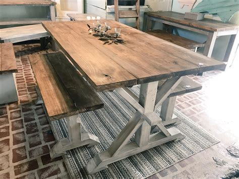 rustic pedestal farmhouse table  benches provincial
