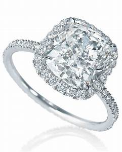 Cushion cut diamond engagement rings martha stewart weddings for Cushion cut engagement rings with wedding band