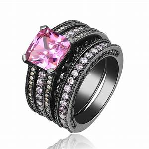 black gun women wedding ring sets platinum lady jewelry With black and pink wedding ring sets