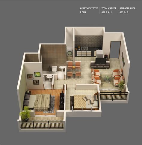 2 Bedroom Small Apartment Design by 2 Bedroom Apartment House Plans