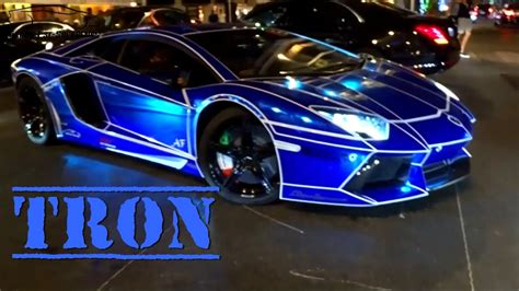 tron   lamborghini aventador blue chrome youtube