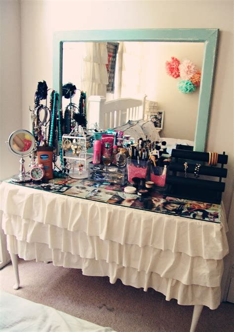 diy vanity tablecloth sheet or make your own prop mirror against wall get sheet of