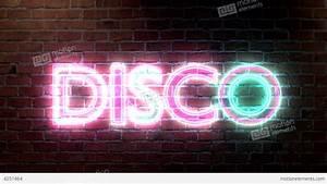 Disco Logo Neon Lights Sign On Brick Wall Text Glo Stock ...