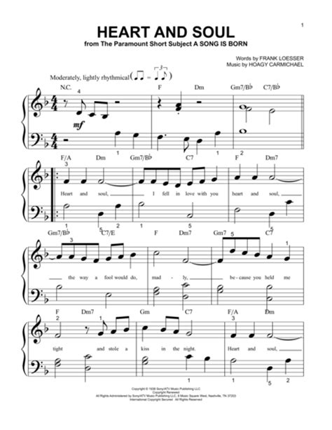Read this to reveal essential free piano sheet music for beginners. Download Heart And Soul Sheet Music By Frank Loesser ...