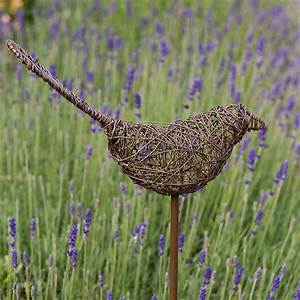 Buy Wire bird on a stake - green