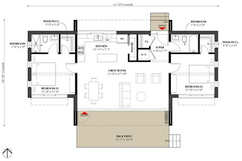 modern two bedroom house plans modern style house plan 2 beds 2 baths 991 sq ft plan 933 5 19289 | w1024