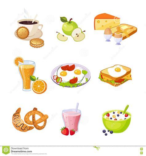 cuisine dwg breakfast food assortment set of icons stock vector