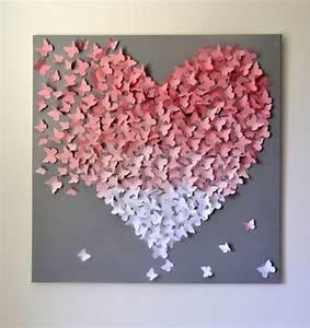 Schmetterlinge Basteln 3d : xl 3d schmetterling anweisung wand kunst light pink von ronandnoy wedding day pinterest ~ Orissabook.com Haus und Dekorationen