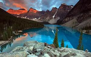 Mountain, Lake, Forest, Sunset, Nature, Reflection