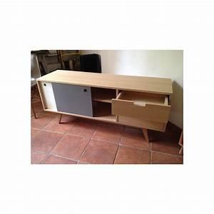 Meuble Gris Et Blanc : meuble tv scandinave ch ne gris et blanc ~ Teatrodelosmanantiales.com Idées de Décoration