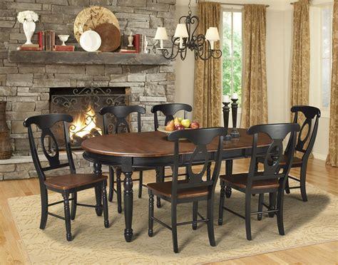 british isles  oak black extendable oval dining room