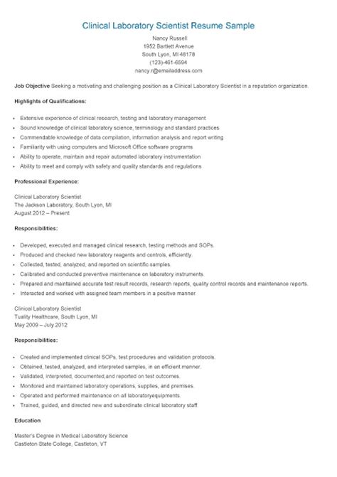 resume sles clinical laboratory scientist resume sle