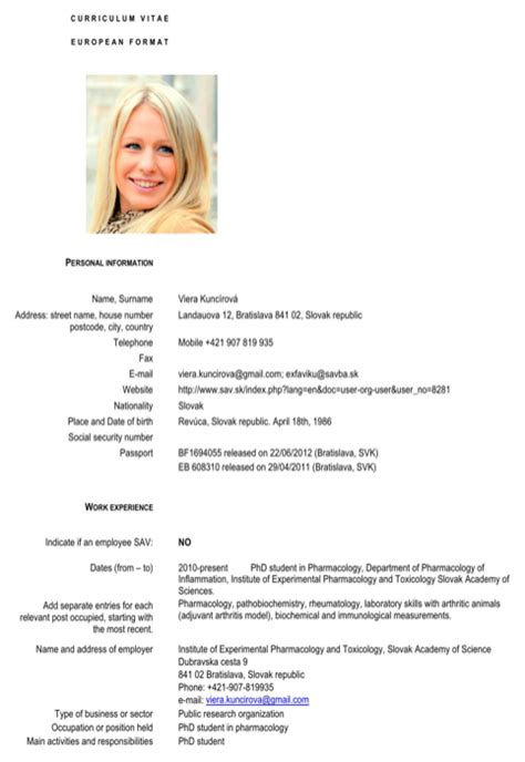 European Resume Format Pdf by Slovakia Cv Template For Free Formtemplate