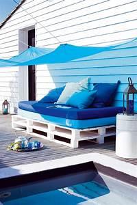 canape lit matelas palettes de bois marie claire With tapis exterieur avec canapé lit