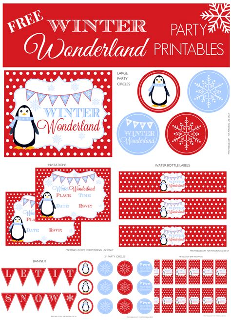 Free Winter Wonderland Party Set  Printable Party Games, Invitations And More