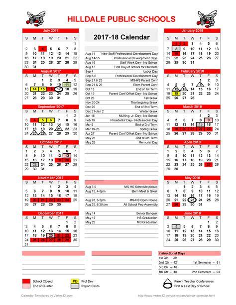 hilldale public schools school calendar