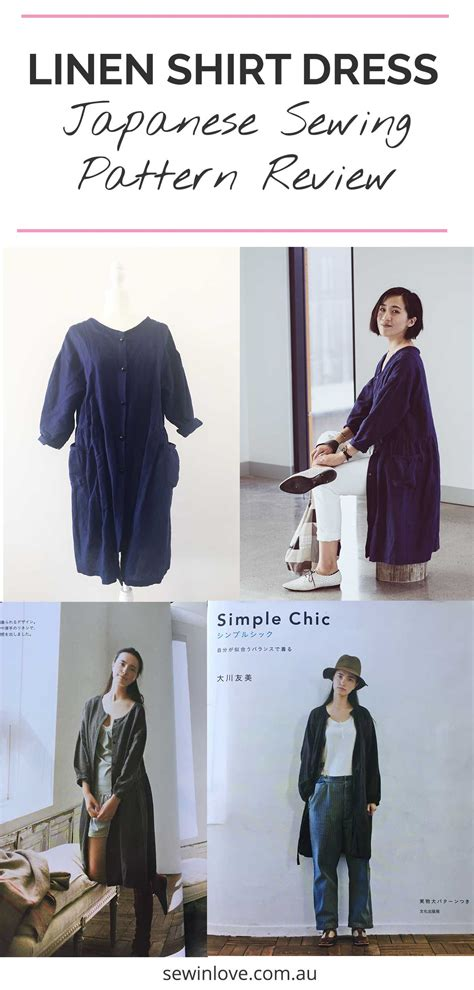 japanese pattern review linen shirt dress  simple