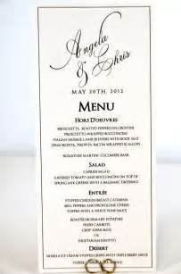 wedding menus wedding menu card tea length calligraphy style