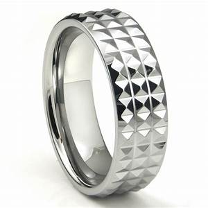 Tungsten carbide diamond pattern wedding band ring for Tungsten diamond wedding rings
