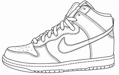 Nike Drawing Sneakers Shoe Shoes Jordan Coloring