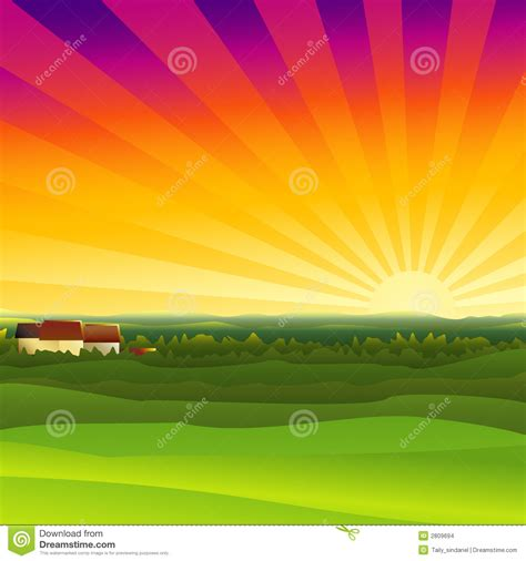 small country house plans farm sunset stock images image 2809694