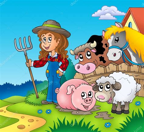 images country girl cartoon country girl  farm