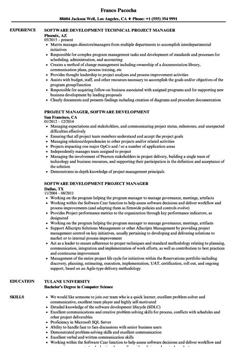 Software Development Manager Resume by Software Development Project Manager Resume Sles