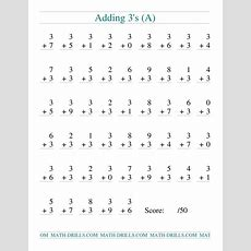Single Digit Addition  50 Vertical Questions  Adding Threes (a) Addition Worksheet