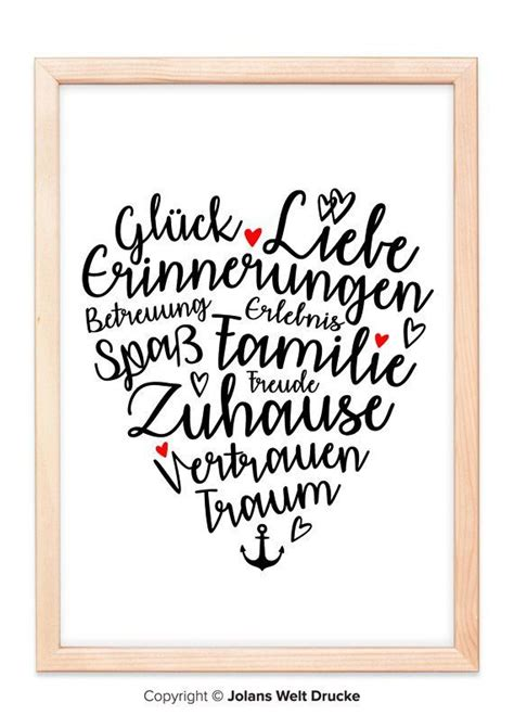 heart family art print poster gift deco picture