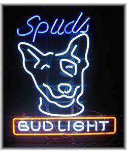 Bud Light Spuds MacKenzie neon sign Displays Spuds