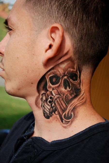 skull  gun tattoo  man side neck tatoos tattoos