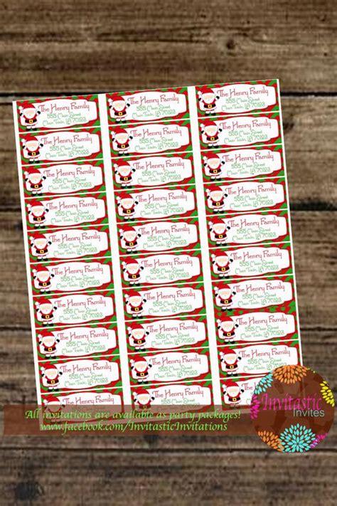custom christmas santa printable mailing labels  printing
