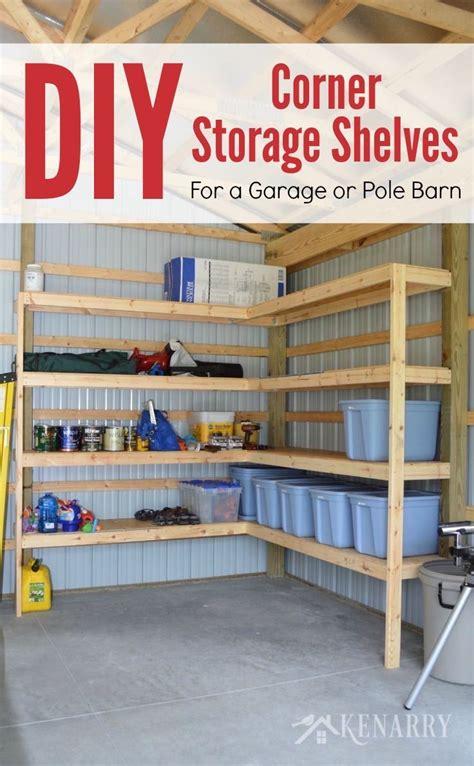 diy corner shelves  garage  pole barn storage diy