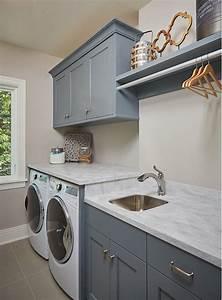BM Grey Pinstripe Laundry Room Cabinet Paint Color BM
