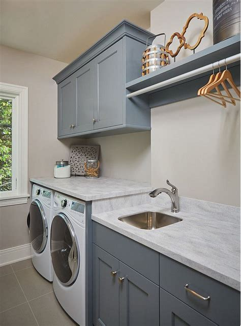 BM Grey Pinstripe. Laundry room cabinet paint color BM