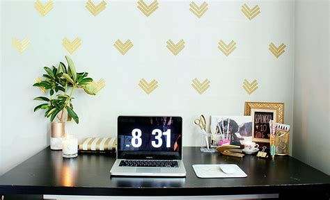 $1 Home Decor : Easy Home Office Decor Ideas|$1 Wallpaper|gold Glam