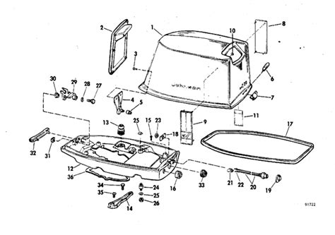 20 Hp Johnson Outboard Diagram by Motor Cover Parts For 1969 20hp 20r69b Outboard Motor