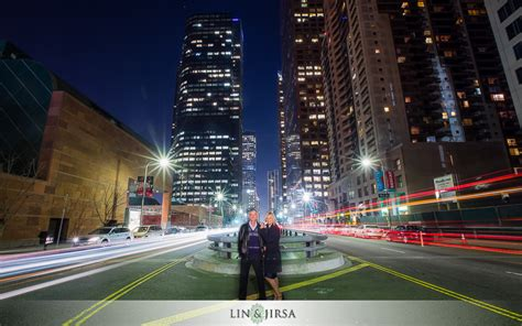 gorgeous downtown los angeles night time engagement