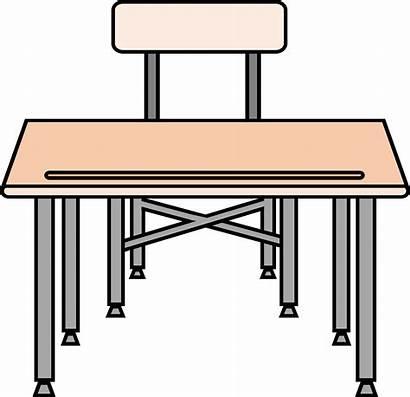 Desk Clipart Student Chair Empty Table Desks
