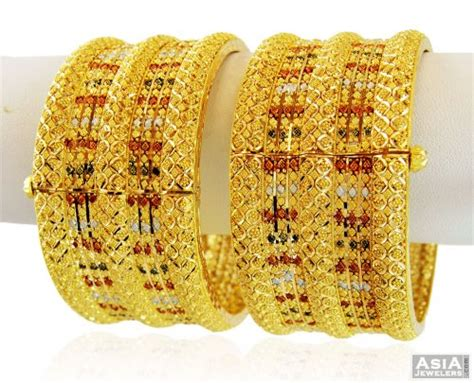 designer wide 3 tone kadas 22k ajba58856 22k gold designer wide kadas 2 pcs beautifully