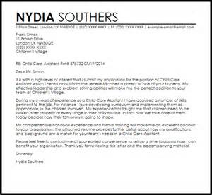 resume cover letter exles for childcare child care assistant cover letter sle livecareer