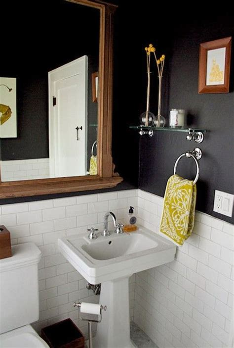 black white and yellow bathroom black yellow bathroom by lynn love the tile on the bottom half less paint stains home